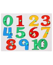 Little Genius  Wooden Number Puzzle Tray With Knobs - Multicolor