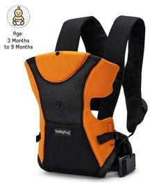 Babyhug Kangaroo Pouch 3 Way Baby Carrier Flexible Head Support - Orange & Black