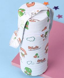 Insulated Single Bottle Bag Cloud and Bear Print - White & Green