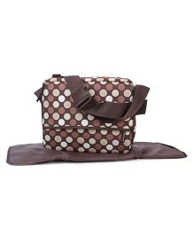 Colorland Polka Dot Mother Bag With Changing Mat - Brown