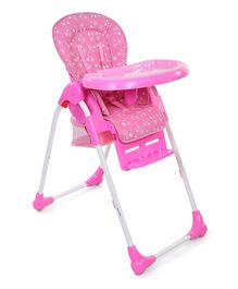 Babyhug Easy Diner High Chair With 5 Adjustable Heights & 3 Level Seat Recline - Pink