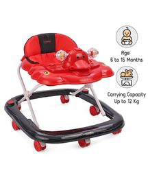 Babyhug Happy Duck Musical Walker With Multi Level Height Adjustment & Toy Tray - Red And Black