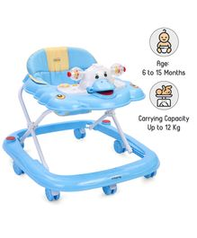 Babyhug Happy Duck Musical Walker With Multi Level Height Adjustment & Toy Tray - Blue