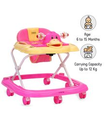 Babyhug Happy Duck Musical Walker With Multi Level Height Adjustment & Toy Tray - Pink