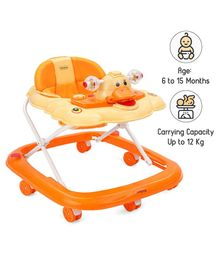 Babyhug Happy Duck Musical Walker With Multi Level Height Adjustment & Toy Tray - Orange