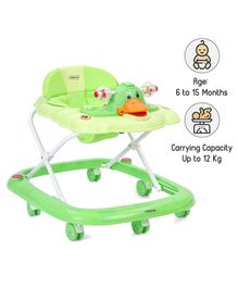 Babyhug Happy Duck Musical Walker With Multi Level Height Adjustment & Toy Tray - Green