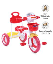 Babyhug Funride Tricycle With Light & Music & Front-Rear Basket - Red Yellow