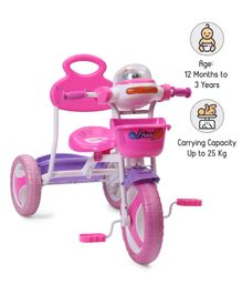 Babyhug Funride Tricycle With Light & Music & Front-Rear Basket - Pink Purple
