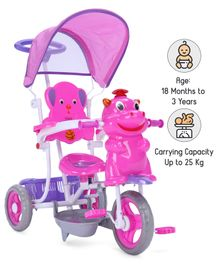 Babyhug Happy Hippo Tricycle With Canopy & Parental Push Bar - Pink Purple