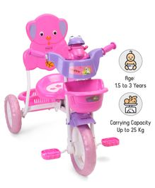 Babyhug Musical Froggy Tricycle With Front & Rear Basket - Pink