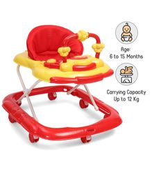Babyhug My Toyfun Musical Walker With Safety Stoppers & 3 Level Height Adjustment - Red