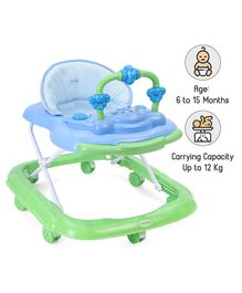 Babyhug My Toyfun Musical Walker With Safety Stoppers & 3 Level Height Adjustment - Blue