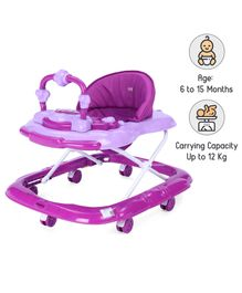 Babyhug My Toyfun Musical Walker With Safety Stoppers & 3 Level Height Adjustment - Purple