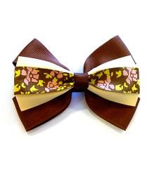 Keira's Pretties Bow Hair Pin - Brown & Beige