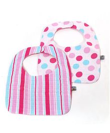Mi Dulce An'ya Organic Cotton Bibs Set of 2 - Pink Sea Green