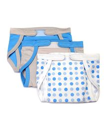 Mi Dulce An'ya Organic Cotton Nappies With Velcro Closure Set of 3 - Blue Grey
