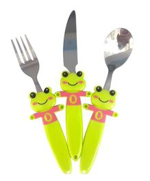 EZ Life Fascinating Frog Funky 3 Piece Kids Cutlery Set - Green