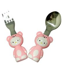 EZ Life 2 Piece Kitten Cutlery Set - Pink