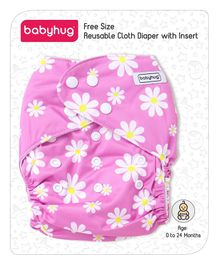 Babyhug Free Size Reusable Cloth Diaper With Insert Floral Print - Pink