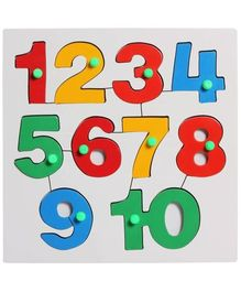 Little Genius Number Inset Tray Puzzle 1 to 10 - Multi Color