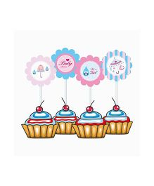Prettyurparty Baby Shower Cupcake Food Toppers - Pink And Blue