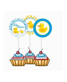 Prettyurparty Rubber Ducky Baby Shower Cupcake Food Toppers