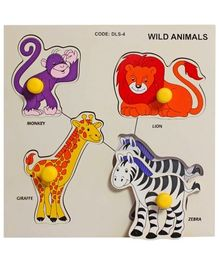 Little Genius Wild Animals Double Layer Small Knob & Peg Multicolor Puzzle - 4 Pieces