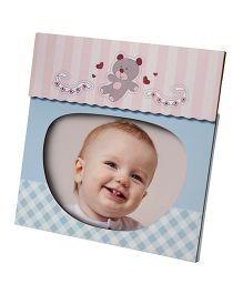 Gifthing Baby Object 4R Wooden Photo Frame Teddy Print - Blue