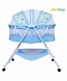 1st Step Bassinet cum Rocker with Storage Basket Star Print - Blue