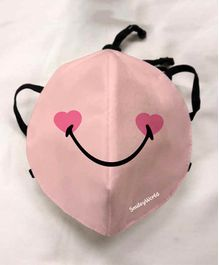 Quick Dry Anti Pollution Face Mask Smiley Print - Pink