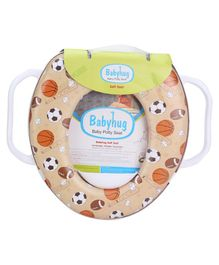 Babyhug Potty Seat With Handle Football Print - Light Brown