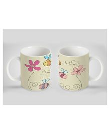 Stybuzz Kids Ceramic Mug Floral Print White 300 ml - Single Piece