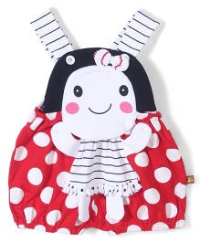 Wow Sleeveless Dungaree Polka Dot Print - Red