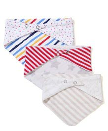 Ben Benny Snap Button Bibs Set Of 3 - White Red Off White