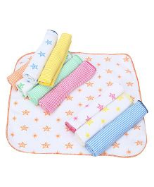 Tinycare Printed Face Napkins Set Of 10 - Multi Color