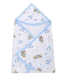 Tinycare Hooded Towel Teddy Print - White and Blue
