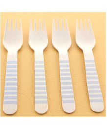 Funcart Wooden Cutlery Utensil Striped Silver Fork - Pack of 10