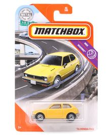 Matchbox Die Cast Free Wheel 76 Honda CVCC Car Toy - Yellow