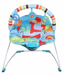Mastela Soothing Vibrations Bouncer Hippo Print - Blue