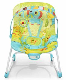 Mastela New Born to Toddler Rocker Bouncer Elephant Print - Green Blue