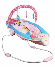 Mastela Musical Bouncer with Toy Bar Monkey & Giraffe Print - Pink Blue
