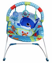 Mastela Musical Bouncer with Toy Bar Fish Print - Blue
