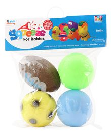 IToys Ball Shaped Squeeze Bath Toys Set of 4 - Multicolour