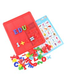 IToys Edu Wonder Mosaic Number & Alphabet Board Game Red - 42 Pieces