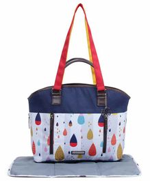 My Milestones Raindrop Diaper Bag with Changing Mat - Navy Blue White