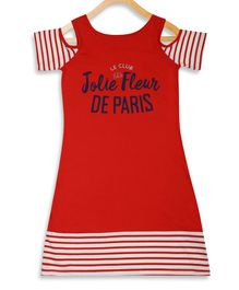 Elle Kids Striped Half Sleeves Cold Shoulder Dress - Red