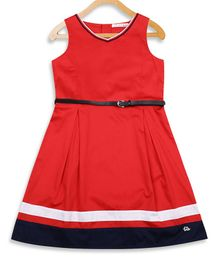 Elle Kids Solid Sleeveless Dress - Red