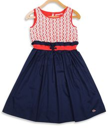 Elle Kids Sleeveless Lace Detailing Flared Dress - Red & Blue