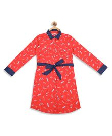 Elle Kids Full Sleeves All Over Ship Printed Dress - Red