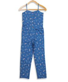 Elle Kids Sleeveless Ship Printed Jumpsuit - Blue